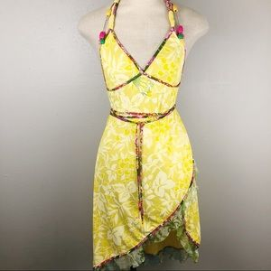 Miss Sixty yellow wrap halter dress or cover-up